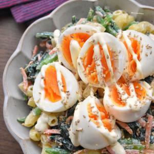 ♡おかわりが止まらない♡青菜とたまごのマカロニサラダ♡レシピあり♡