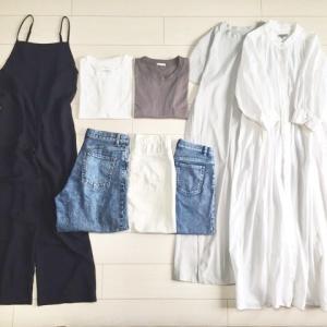 夏服の数8着、色を減らして最小限ワードローブ。