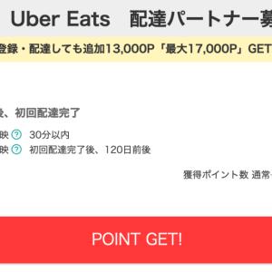 【モッピー】Uber Eats 配達パートナー募集が4,000P(4,000円)!  11月30日までに初回配達完了で追加13,000P!!