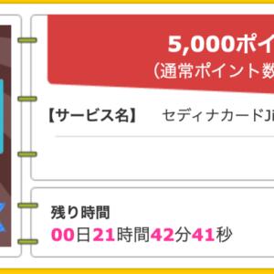 【ハピタス】セディナカードJiyu!da!が期間限定5,000pt(5,000円)! 年会費無料♪