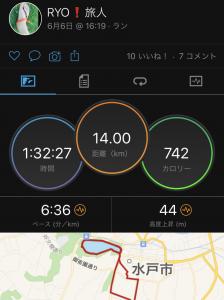 6/6(土)、ワラーチラン14km。