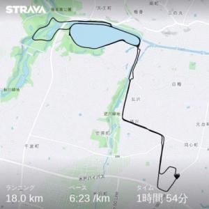 7/12(日)、ワラーチラン18km+懸垂21回。