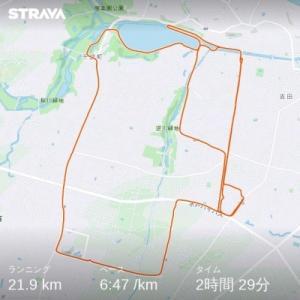 9/12(土)、ワラーチラン22km。