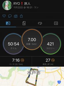 疲労抜きジョグ7km。