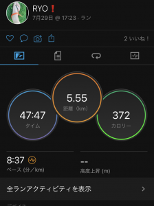7/29(木)、1km+ゆるゆる4km。
