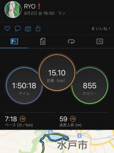 9/2(木)、ジョグ15km。