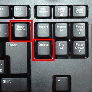 キーボードのバックスペース(BackSpace)キーとデリート(Delete)キーの位置