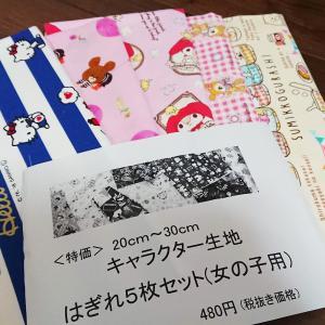 【布買い】手芸のピロルのキャラクター生地はぎれセット(2019年3月~4月分)