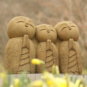 水仙が咲き始めました。石んこ地蔵3人うたごえ唄っています。甘夏マーマレード作りました。