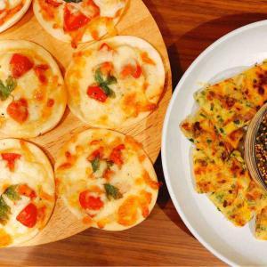 かき揚げを流用したチヂミとミニミニピザ