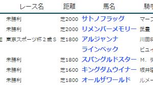 result_2019.11.16-17◆アルジャンナ(G3東京スポーツ杯2歳S2着)・ラインベック(同3着)、サトノフラッグ・リメンバーメモリー(未勝利勝ち)など