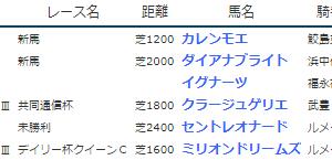 結果19.2.9-11【降雪代替開催あり】▶クラージュゲリエ(G3共同通信杯3着)、カレンモエ(新馬勝ち)など