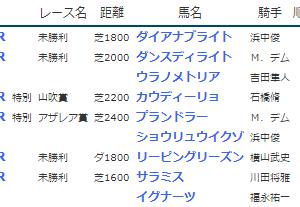 結果19.3.30-31▶カウディーリョ(山吹賞勝ち)、ダンスディライト(未勝利勝ち)