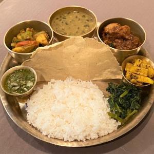 白皮南瓜とじゃが芋のタルカリ @ ネパールのごちそう jujudhau ズーズーダゥ (池田市)