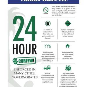 サウジの外出禁止令 24時間体制に変更されました