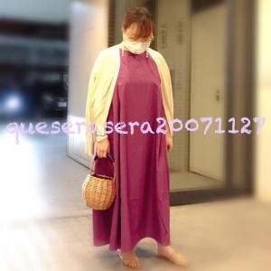 ☆ 《GU》紫ワンピとシースルーカーデにバスケット ☆