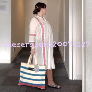 ☆ 《マルニ》 インド刺繍のロングワンピにストライプバッグ ☆