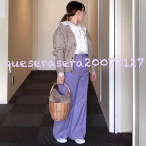 ☆ 《ザラ&GU》 襟付きブラウスにパープルパンツとファーバスケット ☆