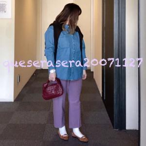 ☆ 《GU×hermes》くすみピンクパンツにパールボタンのデニムシャツ ☆