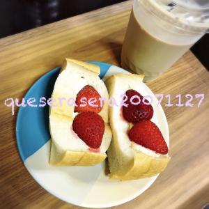 """東銀座〔 俺のBakery 〕 ふわふわ食パンの""""いちごサンド"""" ❥"""