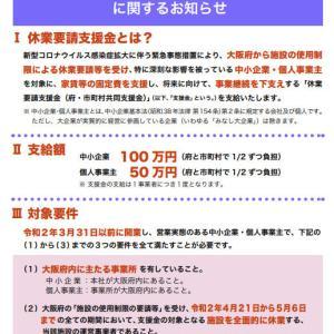 大阪府の休業要請支援金・4月27日【受付開始】