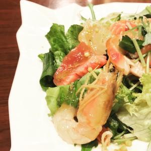 刺身サラダと新潟のイカな夜ご飯