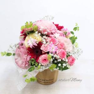 【お誕生日御祝いにお生花のフラワーアレンジメント】