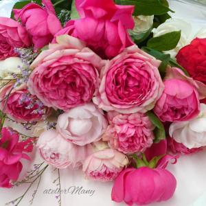 【ピンクのバラの花束】