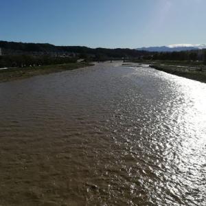 台風後の川の確認パトロール