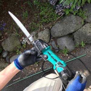 小型レシプロソーで庭木を剪定