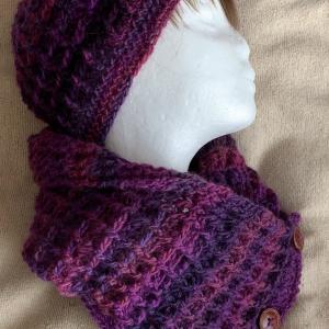 ワッフル編みの帽子&カウル