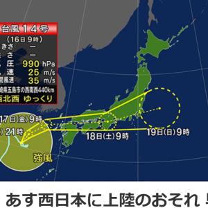 そんな うそでしょ 台風14号が真上を通るの