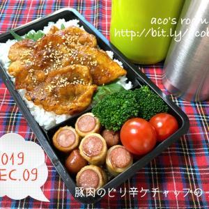 クリスマスに何食べたい?【次男弁当】豚肉のピリ辛ケチャップのっけ弁【晩ごはん】餃子