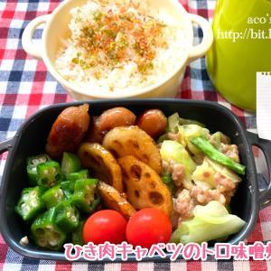 今日は麻雀の日【次男弁当】ひき肉キャベツのトロ味噌炒め弁当
