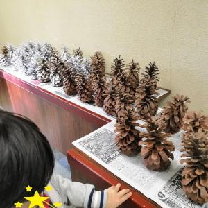 ☆子供が作った松ぼっくりツリーで気分はクリスマス~♪☆