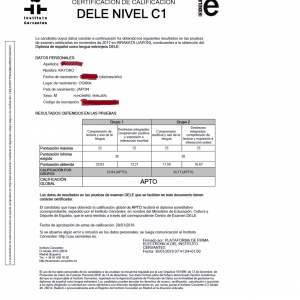 スペイン教育省認定スペイン語検定DELEC1合格記 1