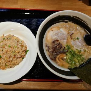「本日オープン、栄町通4交差点北東麺屋~半チャーハンセット~極細麺とろとろ醤油とんこつ」