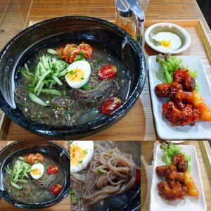 「先々週オープン、有馬温泉街・金の湯北の韓国料理店~冷麺定食~弾力コシ有細麺&酸味利いたスープ」