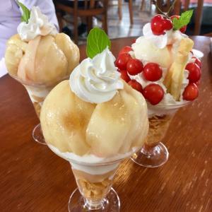 福島までドライブ☆農家直営カフェでさくらんぼパフェと桃パフェ♡&福島でアンガールズ見てきた♪