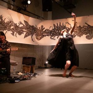 6/18(金)空間実験室LABO  山手線ヨルムンガンド(野澤貴志 怪物画)✖︎鈴木富美恵(ダンサー、86B210) ✖︎ ファルコン (ギター) ご来場くださいましてまことに有難うございました!