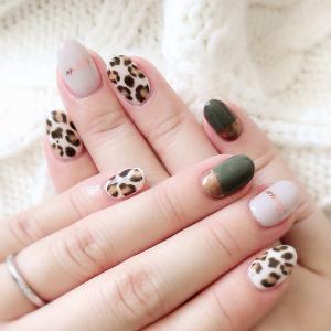 *My nail* レオパード×ミラーネイル