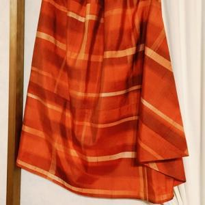 オレンジ色の紬スカート1枚目&ペチュニア