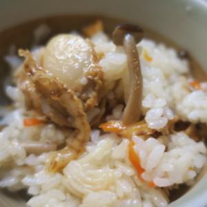 バター香るホタテの混ぜご飯・・白菜のとろとろスープ