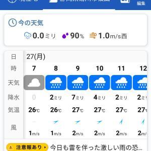 菊川市の天気予報 2020年7月27日朝