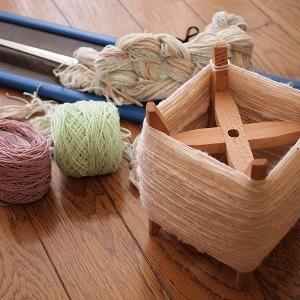 コットンとシルクでハンカチ織り