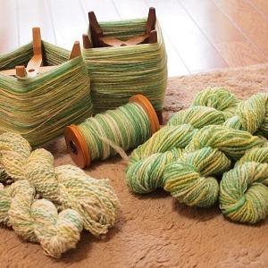 若草色のメリノ、紡ぎ終えました