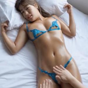 【G-cup】橋本梨菜(B88)黒ギャルのぬるぬる乳揉み擬似セックス動画エロすぎ!