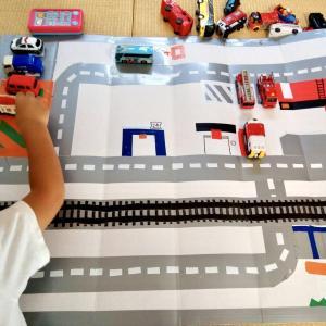【100均】トミカで遊べる道路マップを手作りしました