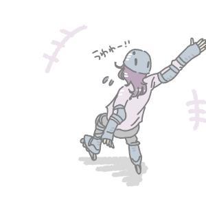 お庭遊びにローラースケート!6歳長女はまるでフィギュアスケートの妖精気分