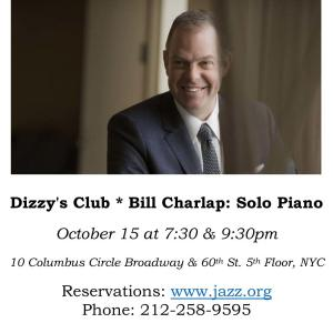 Bill Charlap Solo Piano@Dizzy's Clubのお知らせ